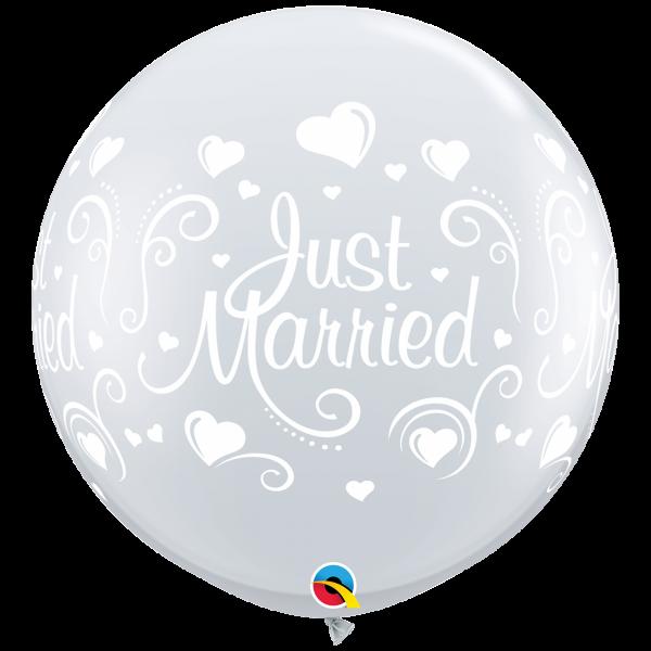 2 Riesenballons - Ø 90cm - Just Married