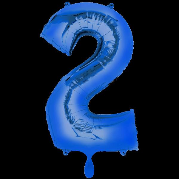 1 Ballon XXL - Zahl 2 - Blau