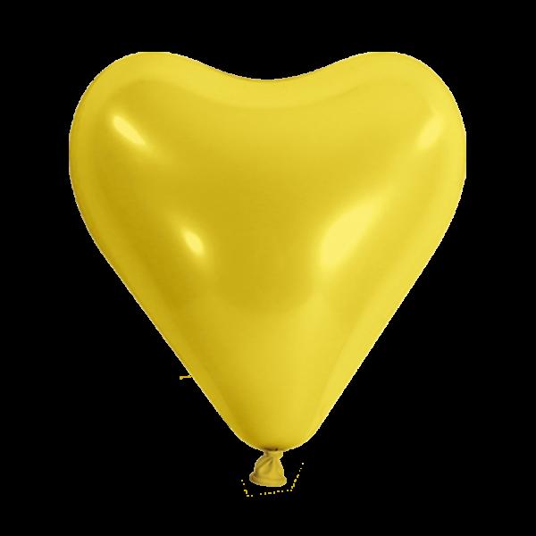 100 Herzballons - Ø 30cm - Gelb