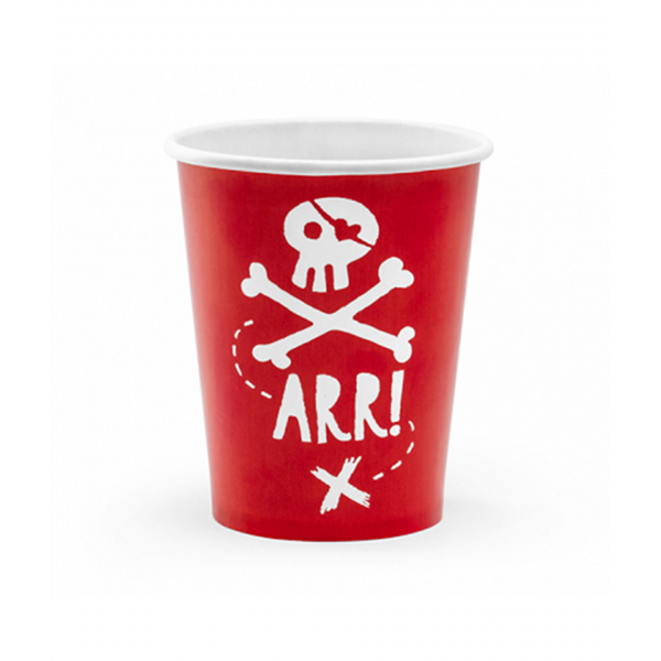 6 Pappbecher Trend - 220ml - Pirates Party