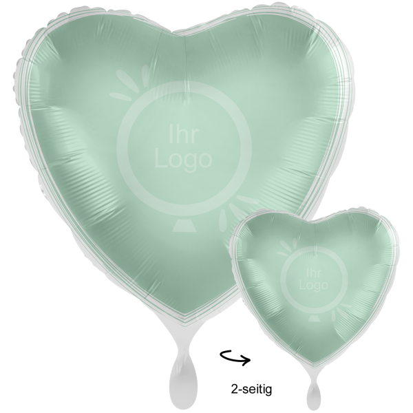 1 Werbeballon XXL - Herz, Ø 71cm, 2-Seitig - Satin - Mint