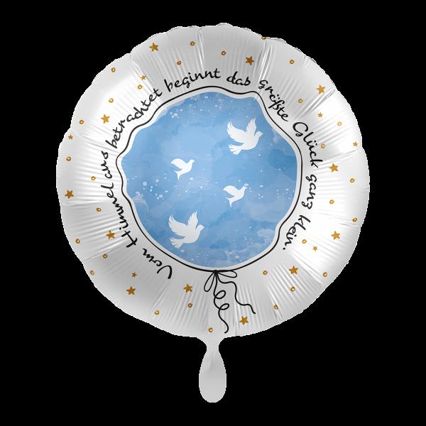 1 Ballon - Taufe Kleines großes Glück Hellblau
