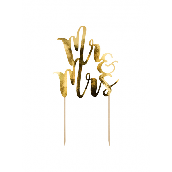 1 Cake Topper - Mr & Mrs - Gold