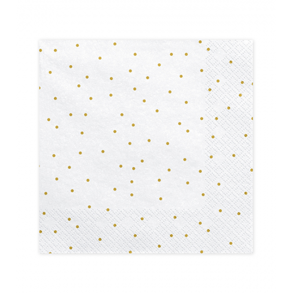 20 Servietten Trend - 33cm - White with Dots