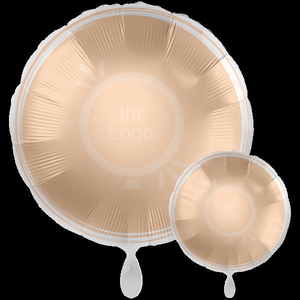 1 Werbeballon XXL - Rund, Ø 71cm, 2-Seitig - Satin - Creme