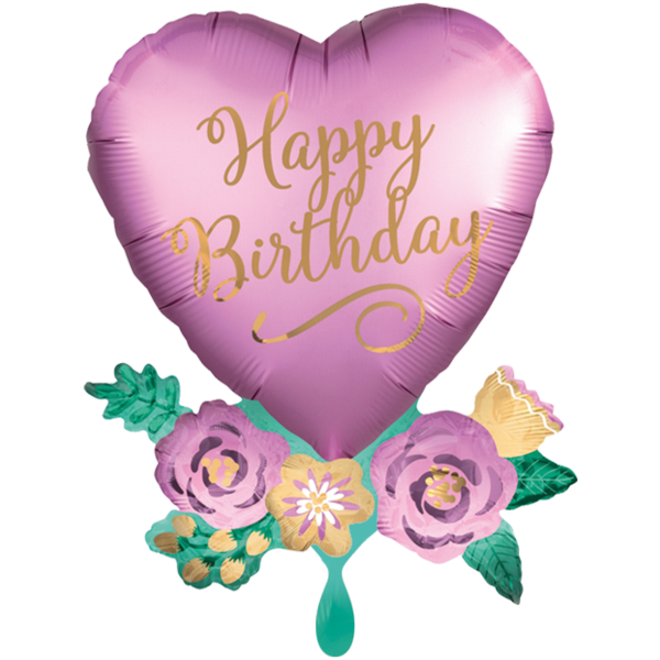 1 Ballon XXL - Birthday Satin Heart with Flowers