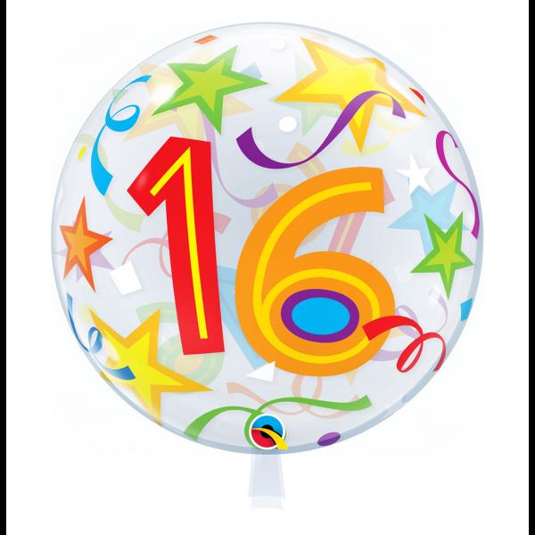 1 Bubble Ballon - 16 Brilliant Stars