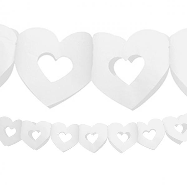 1 Papiergirlande - 3m - Herzen - Weiß