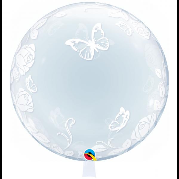 1 Deco Bubble Ballon XL - Elegant Roses & Butterflies