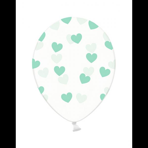 6 Motivballons Clear - Ø 30cm - Hearts - Mint