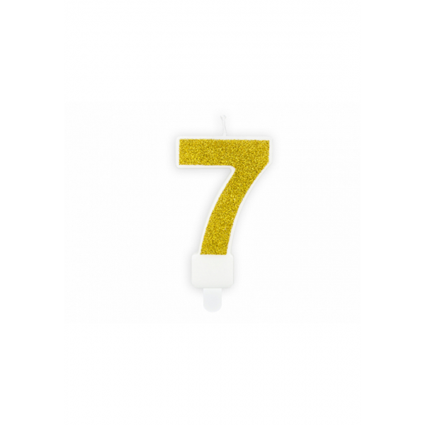 1 Kuchenkerze - Zahl 7 - Gold