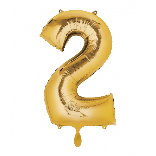 1 Ballon XL - Zahl 2 - Gold